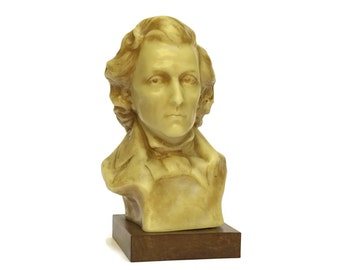 Frederic Chopin Composers Bust. French Vintage Wax Man's Head Bust. Classical Music Decor.