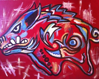Arkansas Razorback Hog Acrylic on canvas