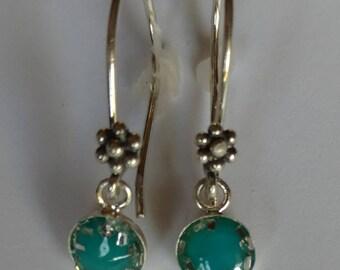 Sterling Silver Turquoise Earrings-Dangle Earrings-Flower-French Earwires-Handmade-Delicate-10mm Sterling Bezel-Resin-Unique-Dainty