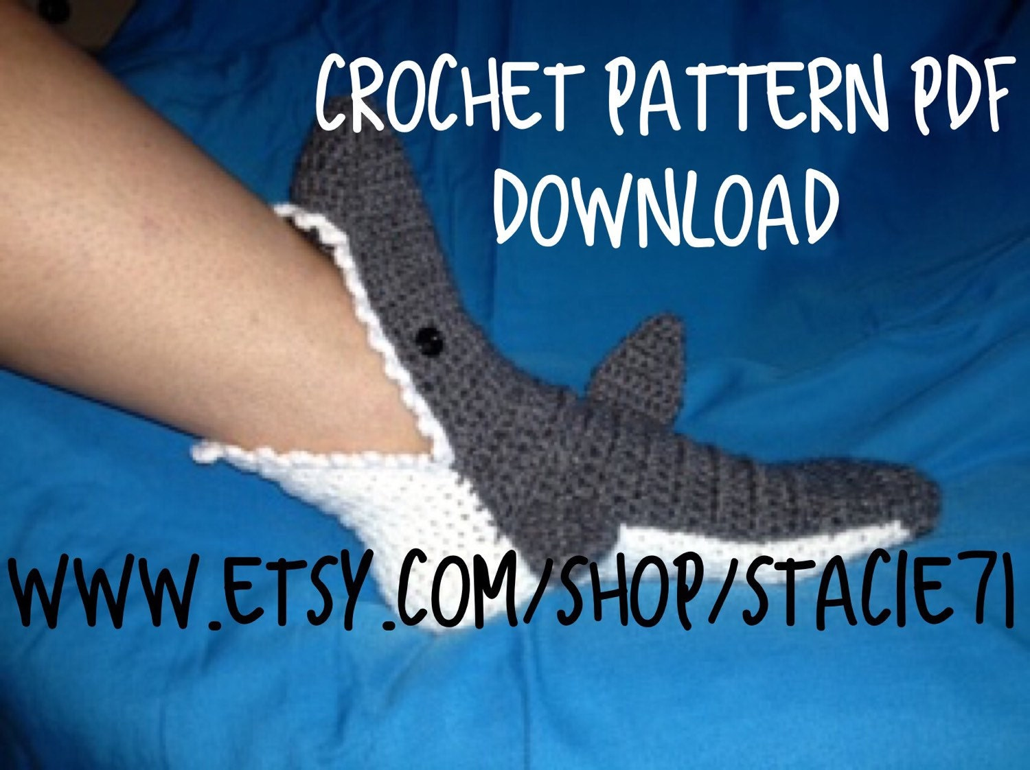 Pattern for crocheted shark socks baby child and adult zoom dt1010fo