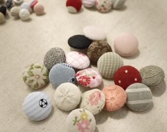 """Handmade Fabric Buttons - Handmade Buttons 20 pcs Pattern by random.-- 0.4""""-1.4"""" / 1 cm - 3.5cm"""