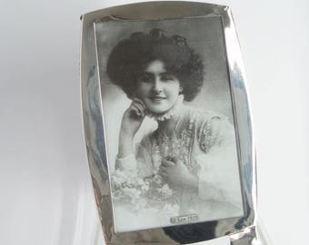 "Arts and Crafts Birmingham c1919 Silver Photo Frame Antique Hallmarked 18cm 7"" Tall S.G Jacobs . English  Silver . Antique Homewares ."