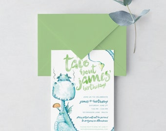 Dragons Love Tacos Inspired Birthday Party Invitation / Dragons Love Tacos Invite / Dragons Love Tacos Birthday / Digital Download