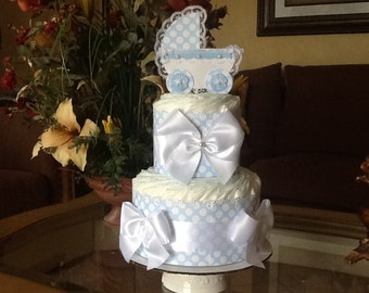Baby boy diaper cake/Light blue and white diaper cake/Baby boy baby shower centerpiece/Gift/Baby carriage centerpiece