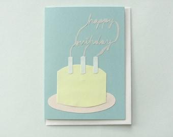 Happy Birthday Smoke Signals - papercut collage card