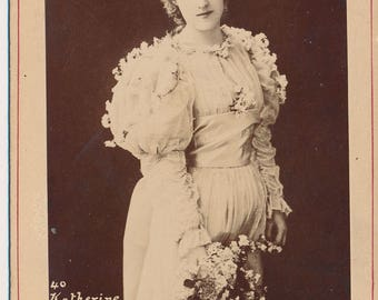 Vintage Cabinet Card Portrait of Beautiful New York Broadway Actress, Katherine Florence