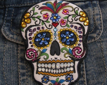 Stunning DAY of the DEAD PIN-Colorful Swarovski Crystals-Wearable Magnetic Brooch-Hand Embroidered