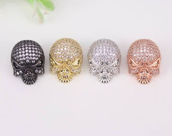 5-10pcs Metal Copper Micro Pave CZ Skull connector Beads,Cubic Zirconia Skull beads For Jewelry Making