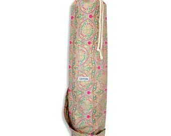 Gold & Neon pink floral Wobble Yoga mat bag