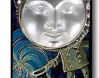 """Fantasy Moon Magician Picture Pendant Necklace 1""""x2"""" with Chain"""