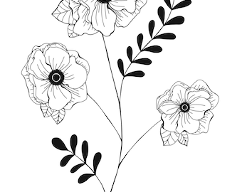 Black and White Floral Poppy Print