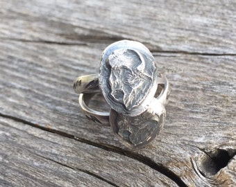Bison - Buffalo Sterling Stamped Repoussé Ring Size 7-7.25