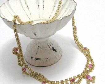 1950s Pink/Yellow Rhinestone Necklace - Vintage Necklaces