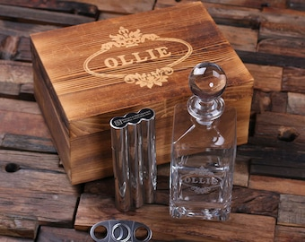 Personalized Engraved Etched Scotch Whiskey Decanter, Metal Flask Cigar Case Holder Groomsmen Gift, Father's Dad Gift 025288