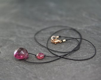 Tourmaline necklace ~ silk necklace, minimalist necklace, black silk necklace, pink tourmaline jewellery, delicate necklace, womens gift