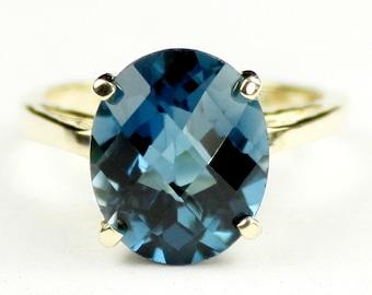 London Blue Topaz, 10KY Gold Ring, R055