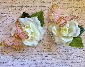 Bridal Hair Comb (Fascinator Clip Floral Hair Clip Hair Piece Boho Wedding Hair Piece Bridesmaid Bridal Headpiece Bride Wedding Hair Flower)