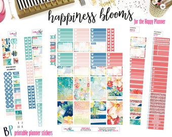 Happiness Blooms | Weekly Printable Planner Kit | Planner Stickers | Cut Lines | for use with Happy Planner | Planner Stickers Printables