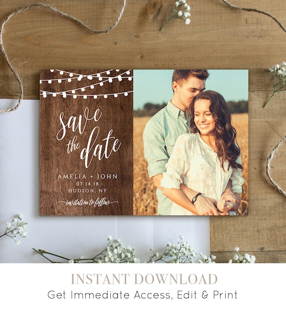 Rustic Save the Date Template, Printable Photo Card, 100% Editable, String Lights & Wood Background, Instant Download, Templett #014-205SD