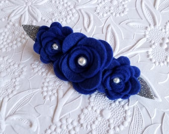 Royal blue felt barrette, Royal blue silver felt headband, Wool Felt French Barrette, Adult french barrette, Baby Headband