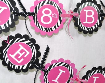 12 Cupcake Toppers Girls 1st Birthday Party Zebra