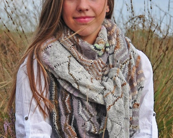 knitting pattern chevron, ajour scarf, lace scarf