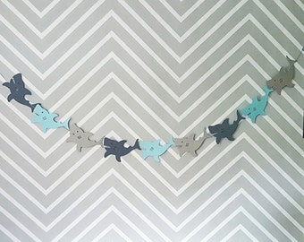 Blue & Gray Shark Garland