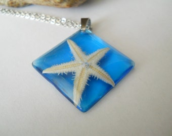 Real starfish pendant, surgical steel necklace, blue resin jewelry, holiday accessory, starfish jewelry, starfish necklace, square pendant