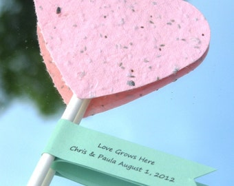 50 Plantable paper heart shower favors- choose from a variety of colors