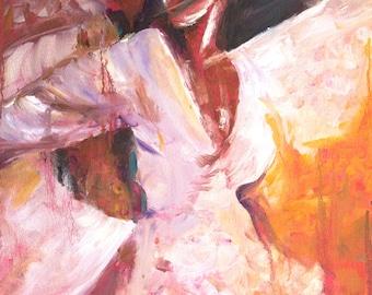 Romantic art, impressionistic, dancing passion print, couple dancing, intimate couple, romance, lust, love, salsa, dancers gift ideas