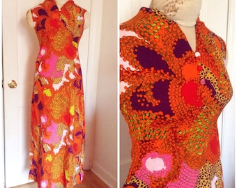 Vintage Sixties maxi dress, groovy Sixties dress, psychedelic print dress, vintage dress size extra small, xs, 0, 2, 4, 1960s