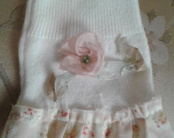 Fingerless Texting Gloves Soft Cream with Ruffles and Beaded Silk Flower