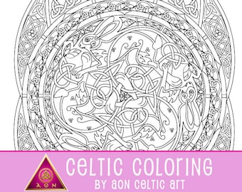 Celtic Rabbit Mandala - coloring page