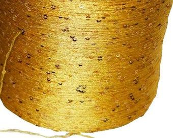 3X 15 gr Metallic Gold Sequined Crochet Yarn small Sequin Novelty Yarn