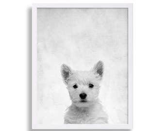Westie Print Dog Portrait Puppy Print Dog Art Pet Art Nursery Art Nursery Decor Nursery Print Baby Animal Decor Modern Art West Highland