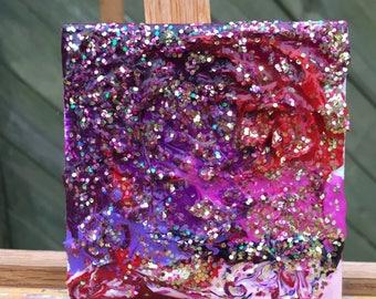Sparkling love-acrylic on mini canvas
