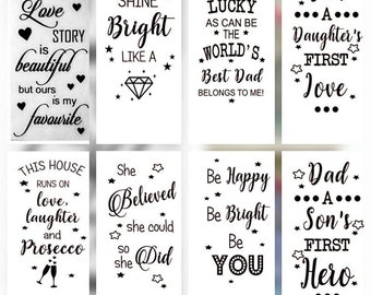 Bottle/vase/lantern vinyl transfers/decals **MULTIBUY OPTIONS** - 5/10/15/20 - colour choices - 20+ designs to choose from