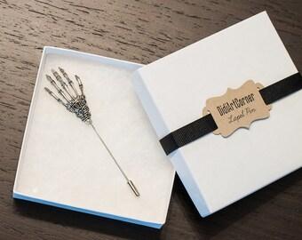 Skeleton Hand Lapel Stick Pin