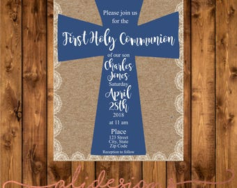 First holy communion invitation, first holy communion invite, navy invitation, blue invitation, invitacion primera comunion, kraft paper
