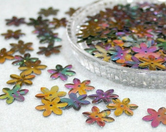 100 • 14 mm Dark Rainbow Flower Sequins