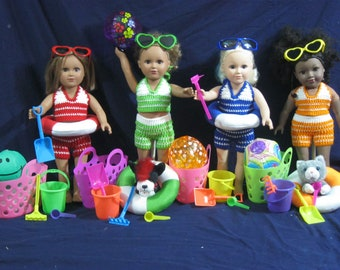 Swimming/Beach Set for 18 inch dolls. Fits  My Life  American Girl Doll. 18 inch doll accessories