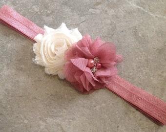 Ivory Dusty Rose headband, Baby Hair Bow, flower headband, baby headbands, shabby chic roses, baby girl headband, hair bows- BL431
