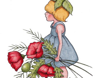 Clip Art, Freehand Illustration, Little Girl with Flowers, Red Poppies, Hand Drawn, Fantasy Drawing, Commercial Use, INSTANT Download