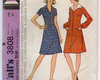 Collared Dress With Front Zipper Sleeves Gathered Into Buttoned Cuffs Vintage Plus Size 24 1/2 Sewing Pattern McCall's 3808