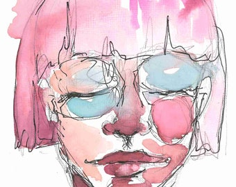 5x7in Original Watercolor & Ink Portrait, Art board