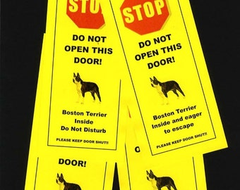 Boston Terrier Inside & Eager to Escape - The Friendly Alternative to Beware of Dog