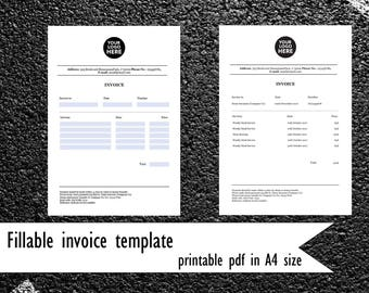 Fillable invoice template. PDF invoice in A4 size. Company logo, address, details filled invoice. Printable invoice template.