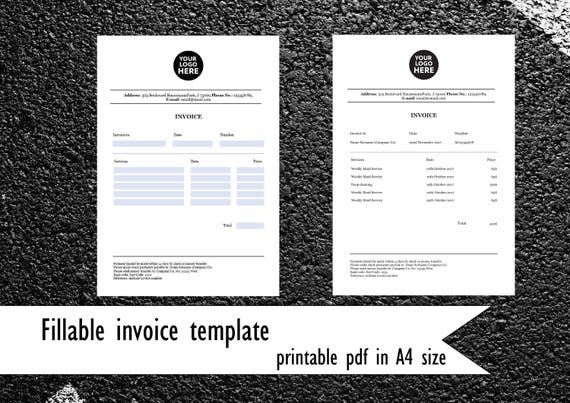 Fillable invoice template pdf invoice in a4 size company like this item saigontimesfo