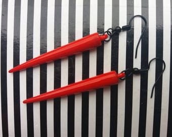 Red Spikes Gothic Earrings
