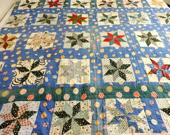 1930s 8 Point Star Quilt, Vintage Collectible Feedsack Hand Quilted n Pieced Patchwork Quilt, 76 x 66, Farmhouse Home Decor itsyourcountry